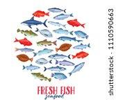 vector roud banner with fish.... | Shutterstock .eps vector #1110590663