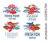 set vector banners fish.... | Shutterstock .eps vector #1110591704