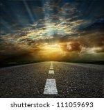 asphalt road between fields ... | Shutterstock . vector #111059693
