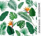 vector tropical leaves and... | Shutterstock .eps vector #1110600449