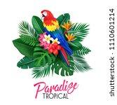 vector tropical banner. summer... | Shutterstock .eps vector #1110601214
