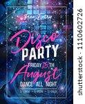 disco party vector poster... | Shutterstock .eps vector #1110602726