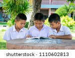 student reading and tutor by... | Shutterstock . vector #1110602813