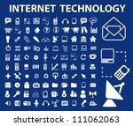internet technology icons set ...