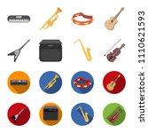 electric guitar  loudspeaker ... | Shutterstock .eps vector #1110621593