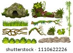 set of jungle objects... | Shutterstock .eps vector #1110622226