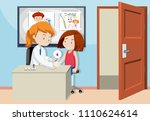 young girl doing a blood test...   Shutterstock .eps vector #1110624614