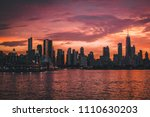 Chicago Sunset from Lake Michigan - stock photo