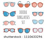 doodle hand drawn sunglasses...   Shutterstock .eps vector #1110633296
