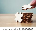 hand of male or female putting... | Shutterstock . vector #1110634943