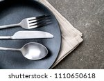 empty plate spoon fork and... | Shutterstock . vector #1110650618