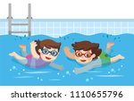 cheerful and active little boy... | Shutterstock .eps vector #1110655796