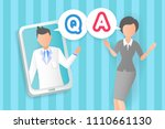 doctor with q and a on the blue ... | Shutterstock .eps vector #1110661130