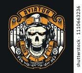 aviator skull born to fly...   Shutterstock .eps vector #1110663236