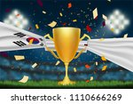 trophy cup with korea flag on... | Shutterstock .eps vector #1110666269