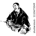 people eating food | Shutterstock . vector #1110673349