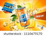 soft drink ads with sliced... | Shutterstock .eps vector #1110675170