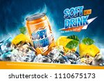 soft drink ads with sliced... | Shutterstock .eps vector #1110675173