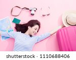 beauty woman smile happily and... | Shutterstock . vector #1110688406