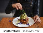 sweet corn fritters with... | Shutterstock . vector #1110693749