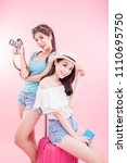 two beauty woman take camera... | Shutterstock . vector #1110695750