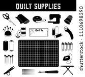 quilt supplies  scissors ... | Shutterstock .eps vector #1110698390