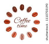 realistic coffee beans of... | Shutterstock .eps vector #1110703190