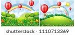 hot air balloons floating over... | Shutterstock .eps vector #1110713369
