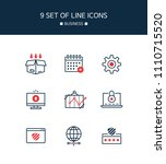 red point business line icon set | Shutterstock .eps vector #1110715520