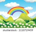 a forest and rainbow scene... | Shutterstock .eps vector #1110719459