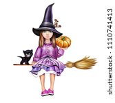 a little witch on a broom with...   Shutterstock . vector #1110741413