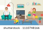 family spending time in living... | Shutterstock .eps vector #1110748166