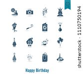 happy birthday icons set.... | Shutterstock .eps vector #1110750194