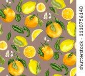 juicy citrus fruits in a...   Shutterstock .eps vector #1110756140