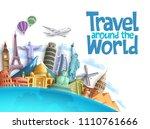 travel around the world vector...   Shutterstock .eps vector #1110761666