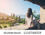 woman traveller enjoys scenic... | Shutterstock . vector #1110768329