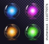 a set of glass glowing magic... | Shutterstock .eps vector #1110770576