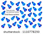find only two same rockets  fun ... | Shutterstock .eps vector #1110778250