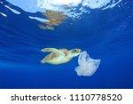 plastic pollution in ocean... | Shutterstock . vector #1110778520