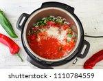 pressure cooker stuffed pepper... | Shutterstock . vector #1110784559