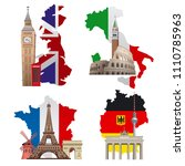 concept illustrations of europe ... | Shutterstock . vector #1110785963