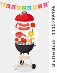 portable round barbecue with...   Shutterstock .eps vector #1110799496