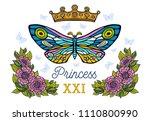 golden crown  butterflies... | Shutterstock .eps vector #1110800990