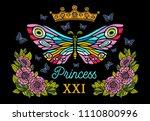 golden crown  butterflies... | Shutterstock .eps vector #1110800996
