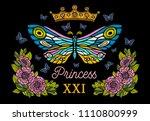 golden crown  butterflies... | Shutterstock .eps vector #1110800999