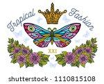 golden crown  butterflies... | Shutterstock .eps vector #1110815108