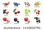 set of berries isolated on... | Shutterstock .eps vector #1110820790