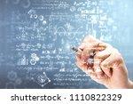 Male Hand Writing Mathematical...