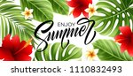 summer poster with tropical... | Shutterstock .eps vector #1110832493