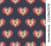 heart shaped brilliant seamless ... | Shutterstock .eps vector #1110842378
